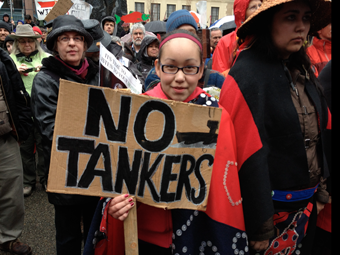 Protester at the 'No Tanker Rally' held on the steps of the Vancouver Art Gallery on March 26, 2012