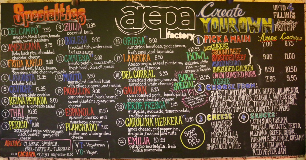 Arepa Factory Menu