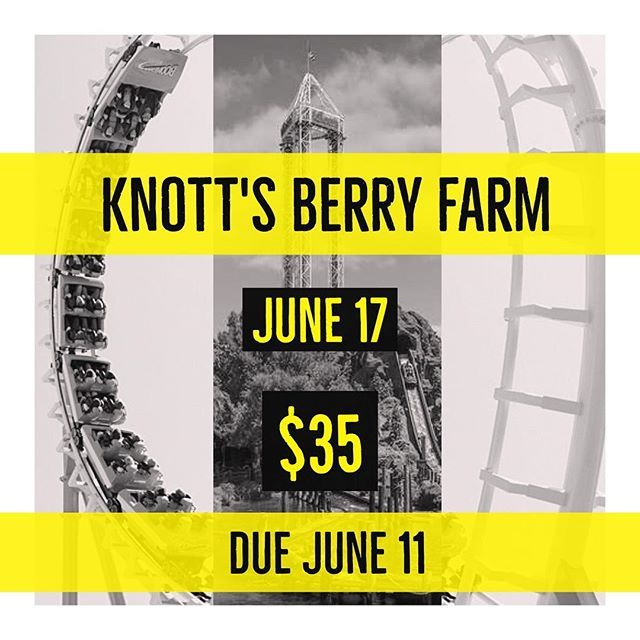 Good morning everyone! PC youth invites you to knott's berry farm!😃 anyone who wants to go please show up at our church Sunday June 11th to pay for your ticket. Hope everyone can come!😊
