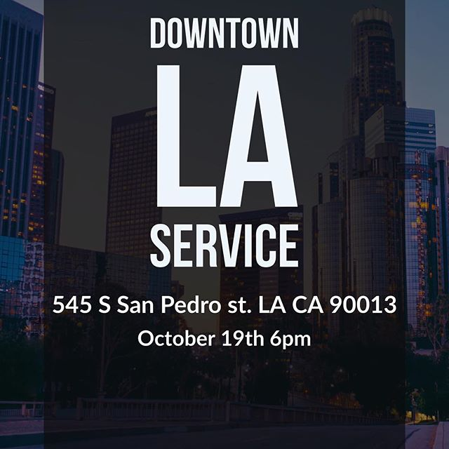 Hey guys we're having our youth service in LA this Thursday. It starts at 6pm and we hope to see you all there come support :) we're going to spread love and be in charge of the service at a church in downtown LA.