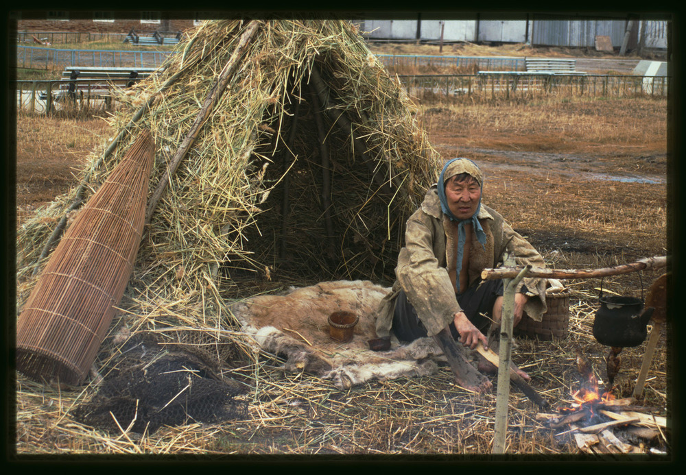 Yakut Pieced Skin Primitive Rug Photograph by William Brumfield Yakut Fisherman Yakutsk Russia 2002