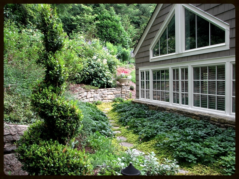 Meandering stepping stone path in a perennial garden