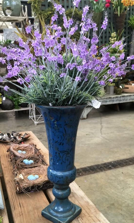 A vase of lavender spires.