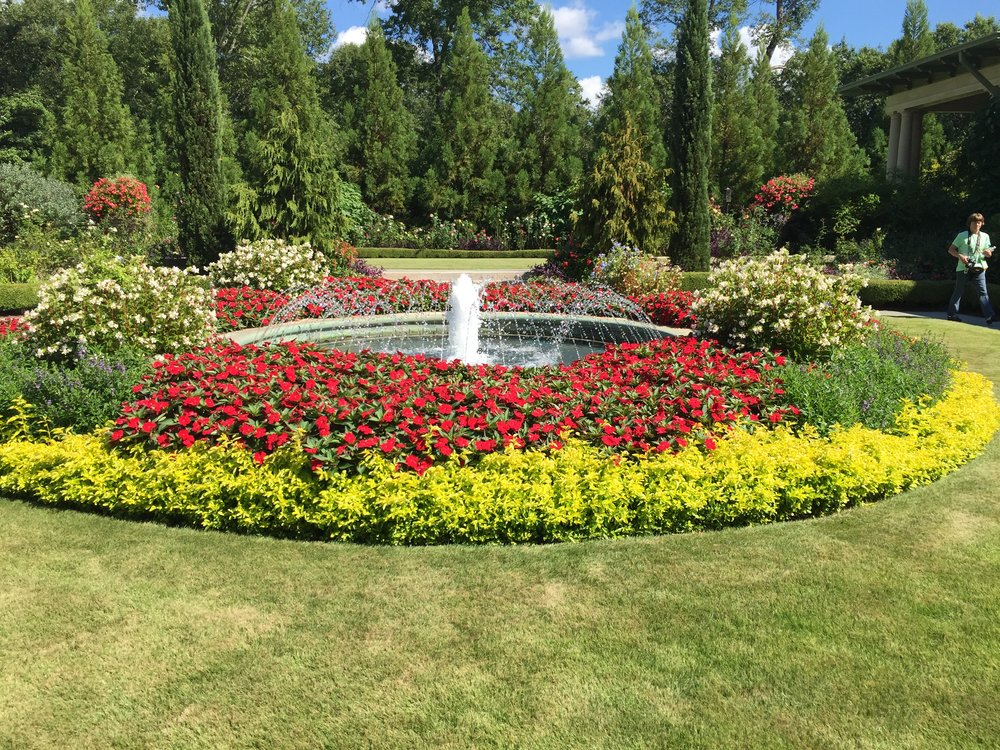 Water features and annuals for bright color.