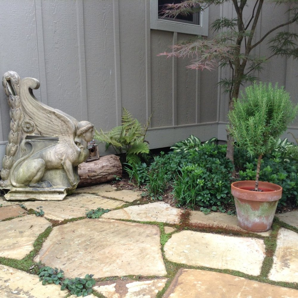 A rosemary topicary placed near an antique statue bring a more classical element to the garden. The Webb's enjoy embracing a mix of elements, as well as the old with the new.
