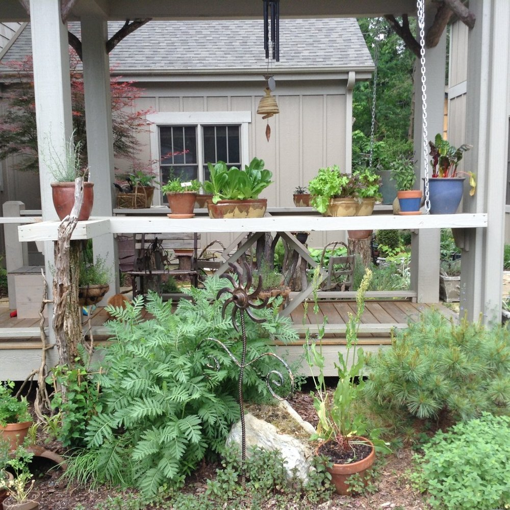 The herb garden extends below the rail where larger herbs can be planted.