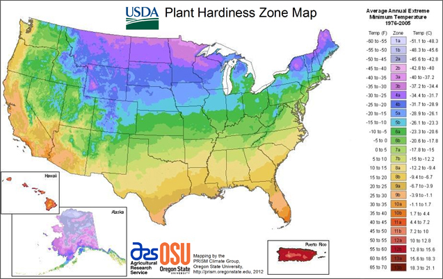 This is the plant zone hardiness map for the United States. The unique thing about this 2012 version is that is breaks areas of the country into micro-climates, taking into consideration elevation, wind, slope and bodies of water and how they affect area temperatures.