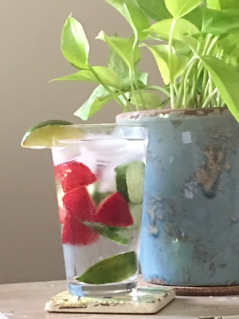 Cucumber, strawberry and lime infused water. Sounds cliche, but it is refreshing after a day in the garden.