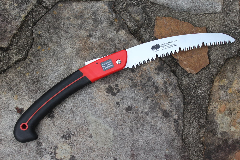 This Ironwood pruning saw has a slotted blade which helps with self-cleaning. Pitch and sap don't buildup as badly.