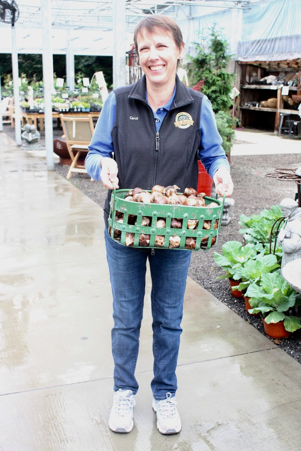 Carol Dwyer, who does a great job working in our annuals department, is happy to show you how to get your bulbs started.