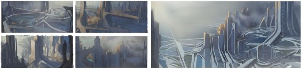 City paintings start with very loose thumbnail concepts. From here 3-d assets and textures are brought in to complete any level of detail desired.