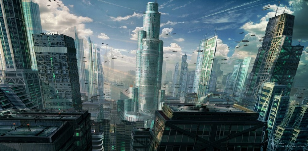 A Sci-Fi city with a central focused building.  The shot was designed to establish a central masculine building that the camera would fly towards.