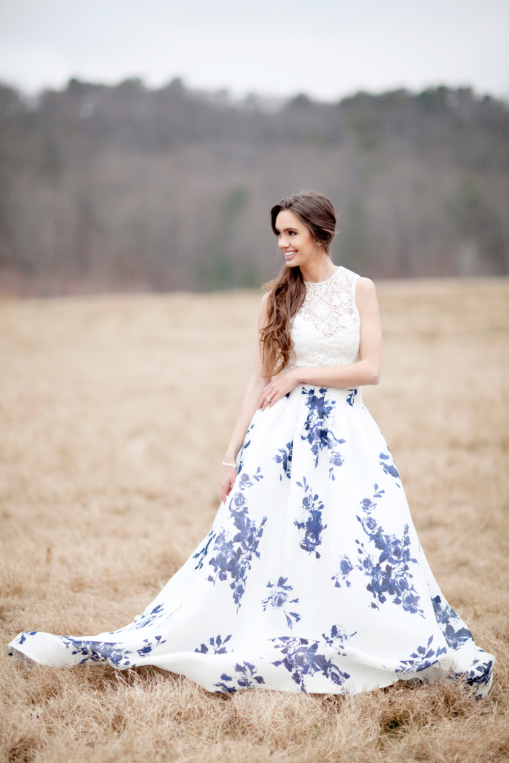 A gorgeous styled shoot featuring a floral gown. Photography by Sleepy Fox Photography.