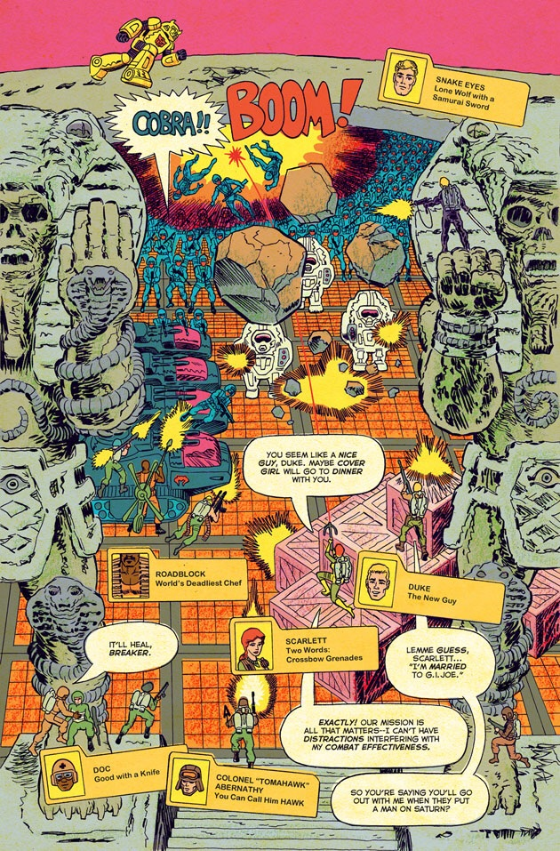 "GI Joe vs. Transformers    artwork by Tom Scioli.  Avant-garde, sure, but is it ""indie""?"