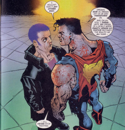 "From ""What's So Funny About Truth, Justice, and the American Way?"" by Joe Kelly, Doug Mahnke, and Lee Bermejo. Action Comics #775. © 2001 DC Comics."