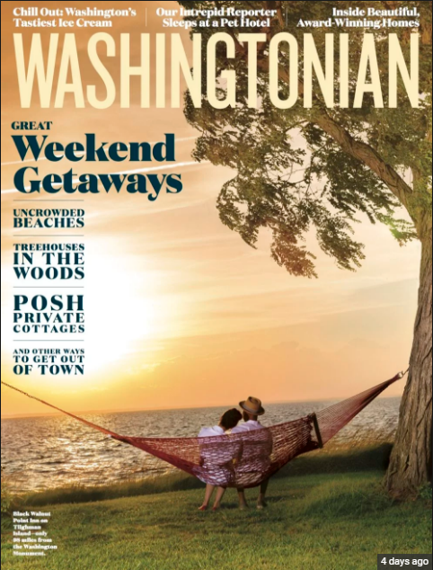Cover of Washingtonian and Center page of weekend getaways makeup completed by Davey & Hair completed by Macie with True Colors Beauty Co.