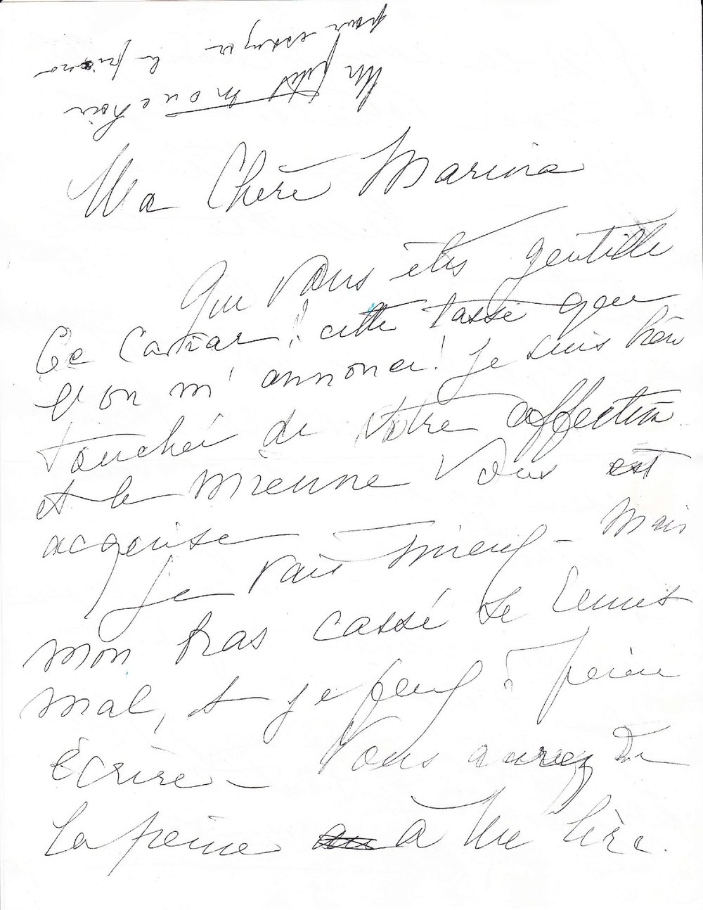 Letter from Marguerite Long to Mdivani (first page)