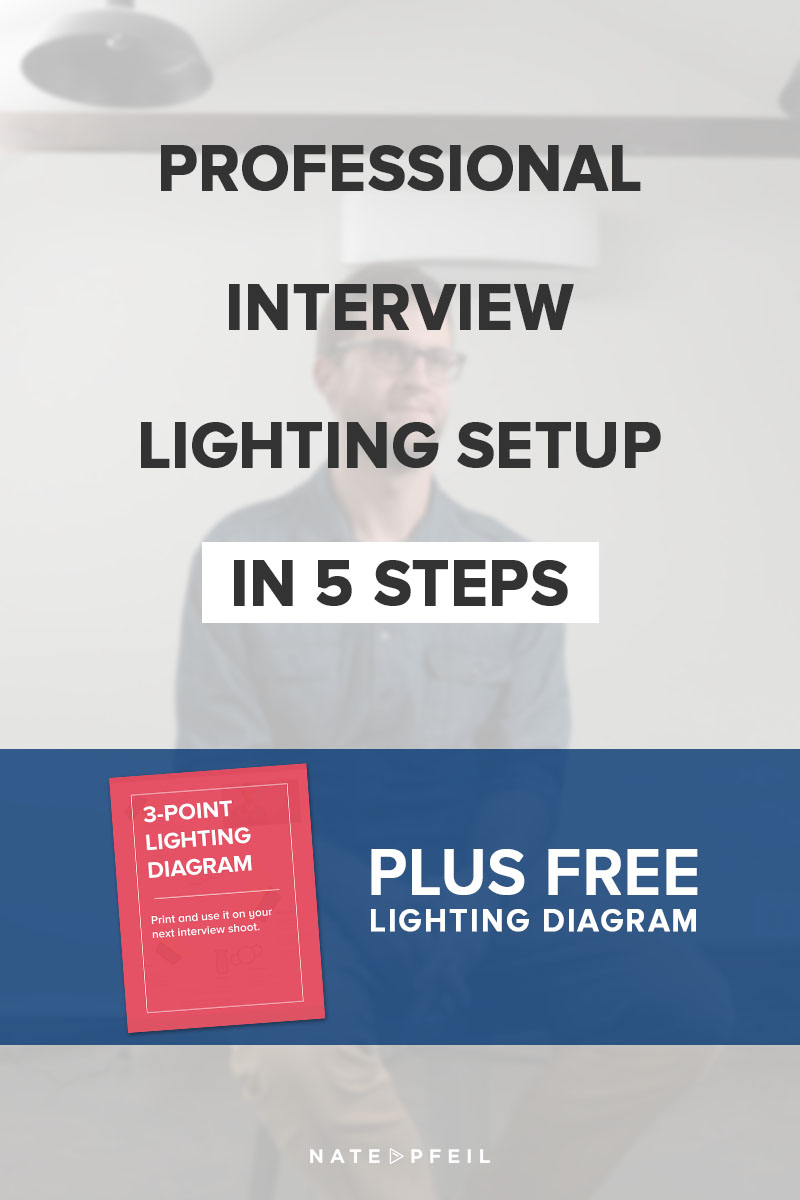 A professional interview lighting setup in 5 steps nate pfeil learn a simple way to light a top notch video interview publicscrutiny Image collections