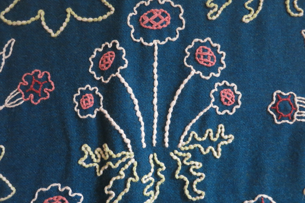 Detail of the embroidered wall hanging in William Morris's 'Red House'