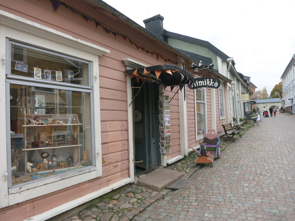 A commercial street in the Old Town of Poovoo in Finland