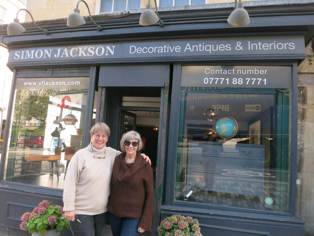 Frauke Jackson and me outside their Antique Store