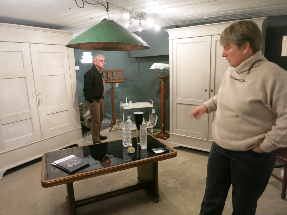 Frauke Jackson and Philip in Simon Jackson Decorative Antiques & Interiors, Bath, UK