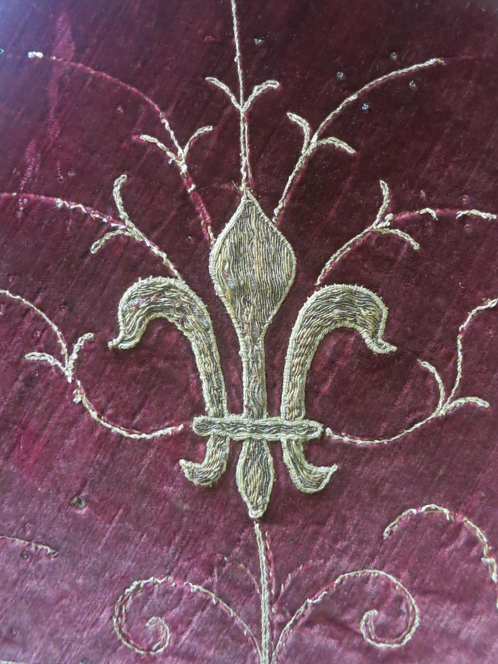 A fleur-de-lys on the velvet of the Skenfrith Cope