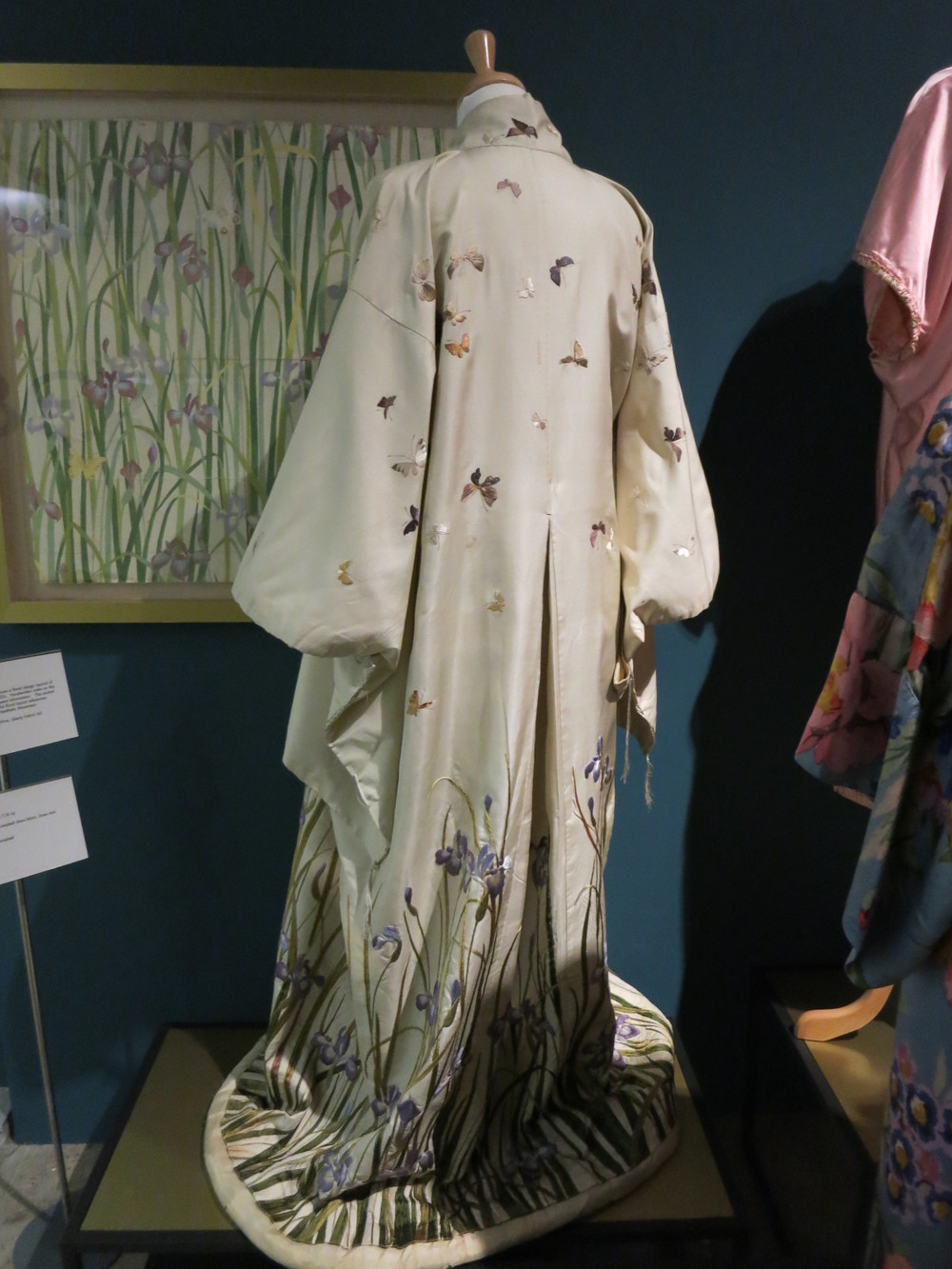 Liberty in Fashion exhibition at the Fashion & Textile Museum, Bermondsey, London 2015. This is a traditional silk embroidered kimino that had been imported by Liberty in the 1920s.