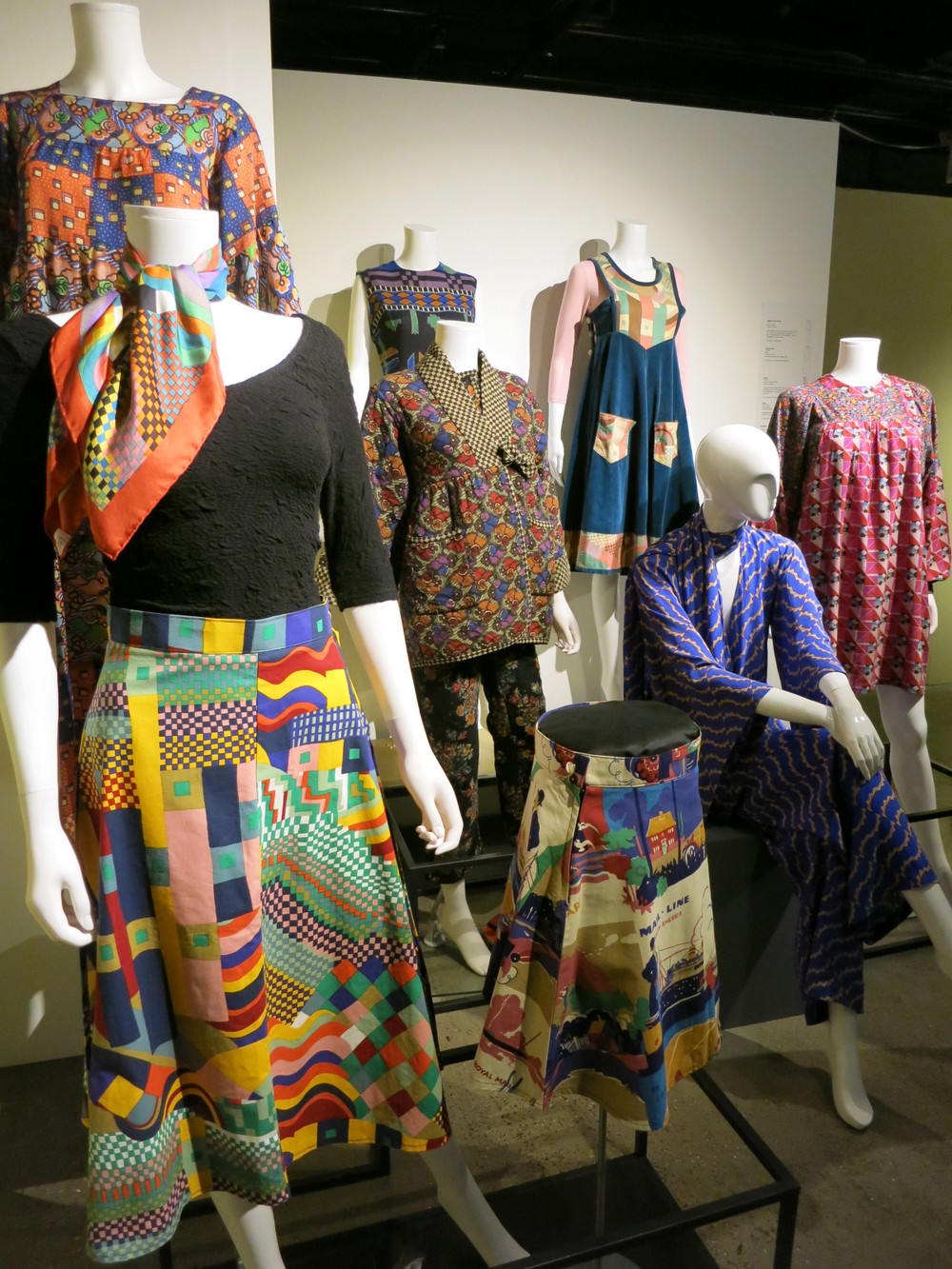 Liberty in Fashion exhibition at the Fashion & Textile Museum, Bermondsey, London 2015. The prints for these 1970s garments were either designed by Richard Nevill, Susan Collier or Sarah Campbell - all design consultants for Liberty.