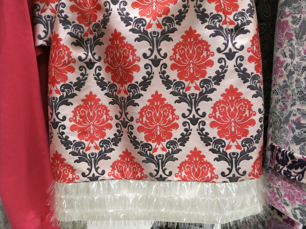 Galeries Lafayette, Paris. Mary Katrantzou skirt. An acrylic material has been manipulated for the border of the skirt.