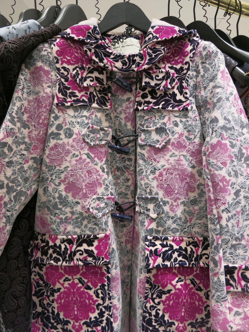 Galeries Lafayette, Paris. Mary Katrantzou 'duffle' coat!