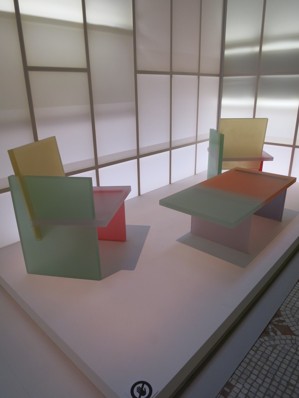 Musee des Art Decoratifs, Paris. 'Korea Now' exhibition 2015. The resin chairs and table designed by Park Won-min