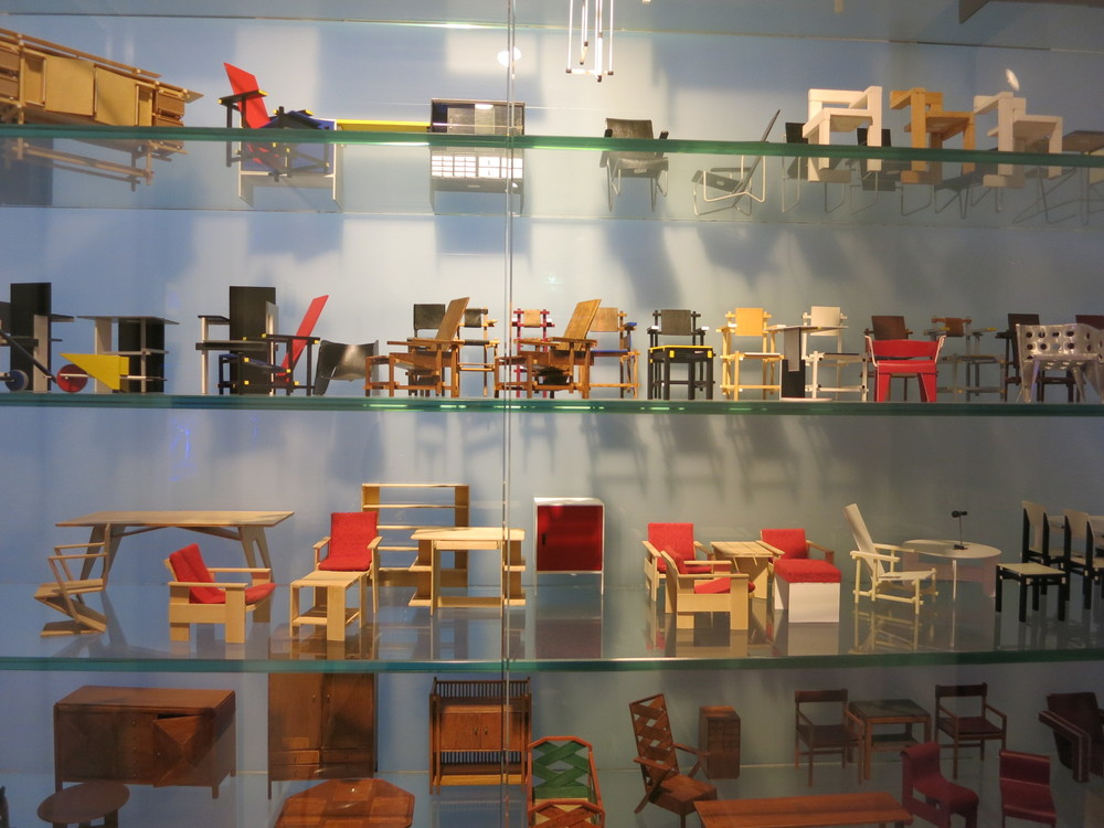 Small-scale models of Rietveld's furniture which were on sale in the Rietveld Shroder House office.