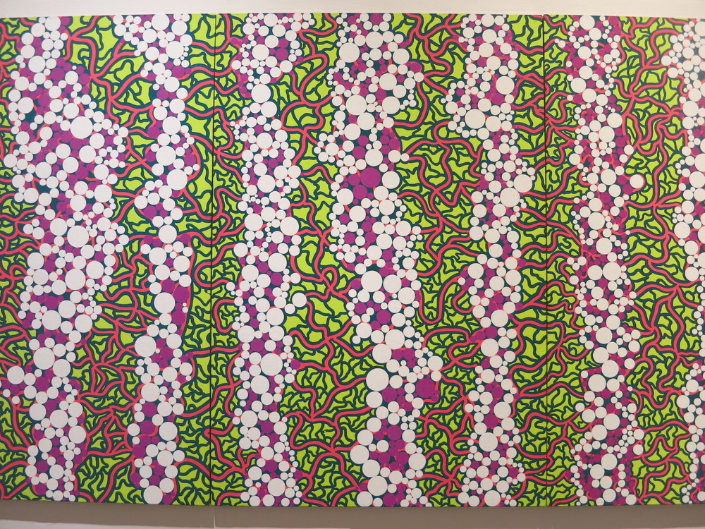 Yayoi Kusama's 1980s works in the In Infinity Retrospective at the Louisiana Museum of Modern Art, Denmark 2015. The title of this acrylic painting - 'Stardust of One Hundred Million Light-Years' 1989