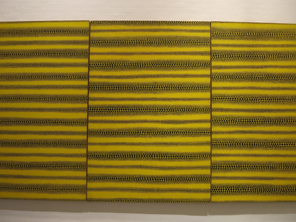 Yayoi Kusama's 1980s works in the In Infinity Retrospective at the Louisiana Museum of Modern Art, Denmark 2015. 'Yellow Dots' 1982