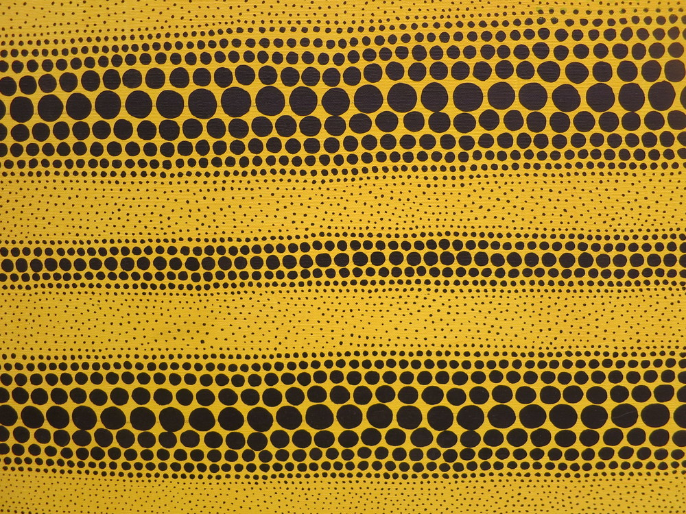 Yayoi Kusama's 1980s works in the In Infinity Retrospective at the Louisiana Museum of Modern Art, Denmark 2015. A detail of 'Yellow Dots' 1982