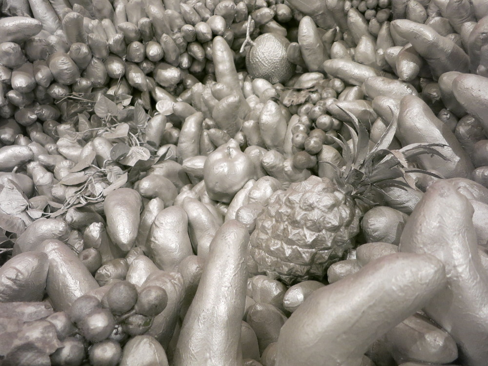 Yayoi Kusama's 1980s works in the In Infinity Retrospective at the Louisiana Museum of Modern Art, Denmark 2015. A detail of 'Walking on the Sea of Death' 1981