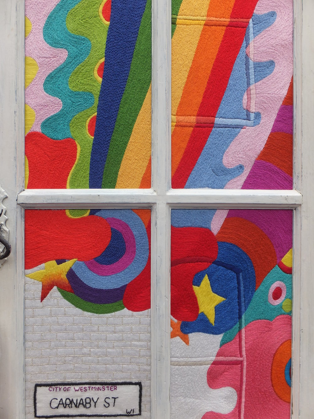 Val Tomlin's 'Lord John Mural' in the Carnaby Street 1960s installation for the Embroiderers' Guild N.S.W's feature space in the Craft & Quilt Fair, Sydney, June 2016