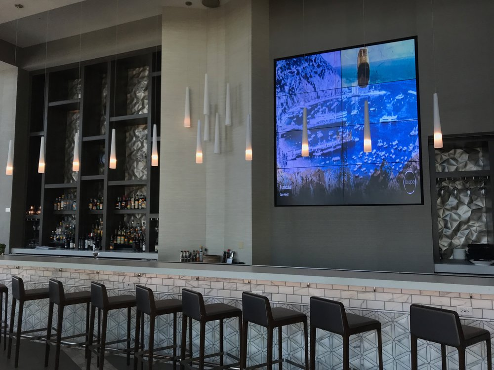 Multi-panel video wall at the AC Hotel, Charlotte, NC
