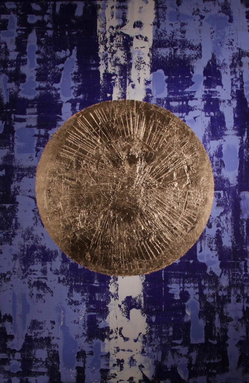 David aiu Servan-Schreiber - Blue, 95x140, Oil cement and gold leaf, 2016 (1).jpg