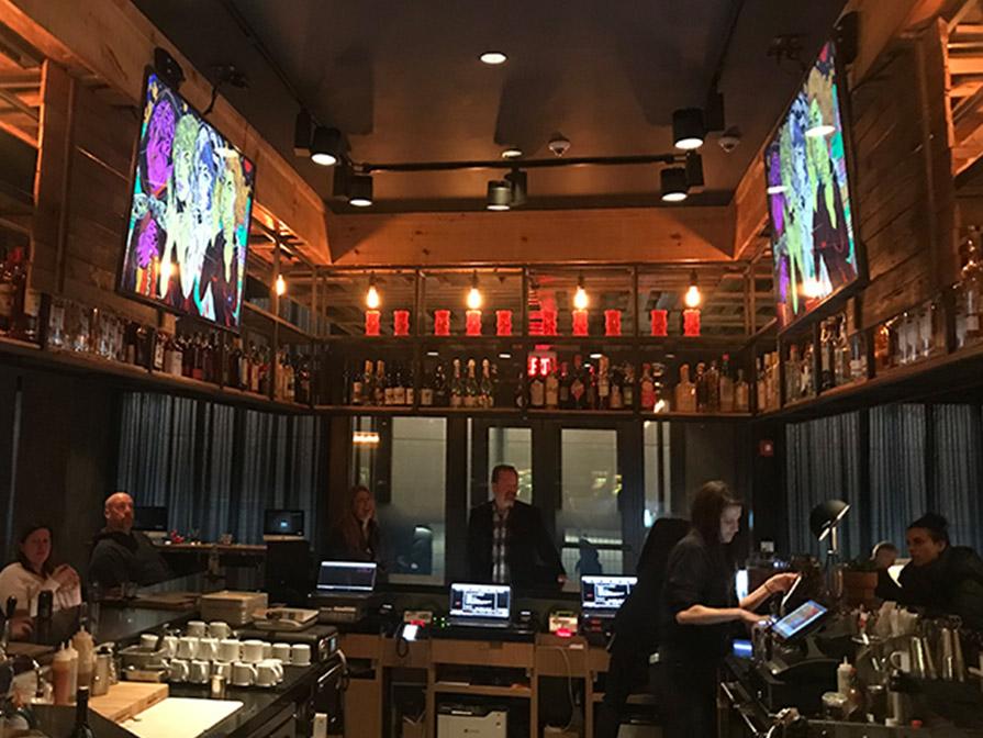 Dual Loupe display - Moxy Hotel bar and front desk, Midtown Atlanta, GA