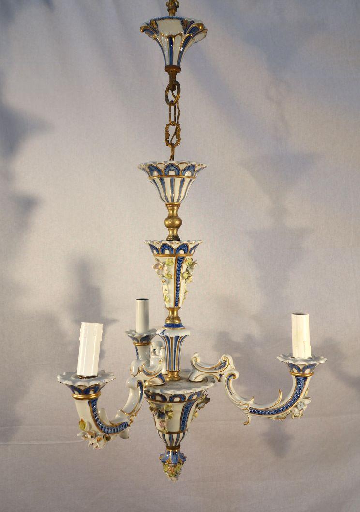 Antique Italian Porcelain Capodimonte Little Chandelier Bellini S Italia