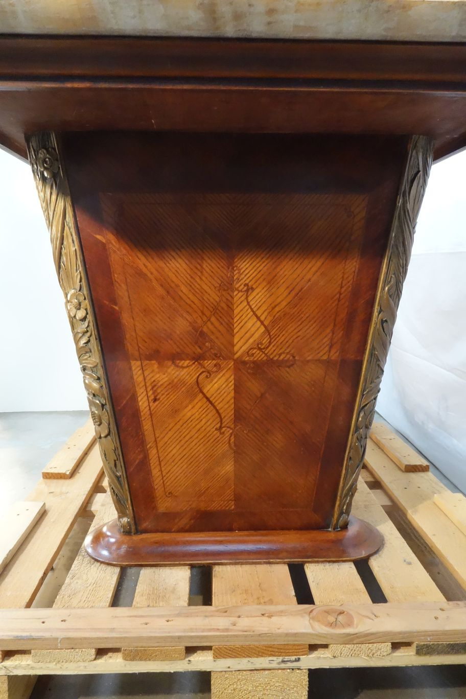 Italian Mid Century Formal Art Deco Walnut Table With Onyx