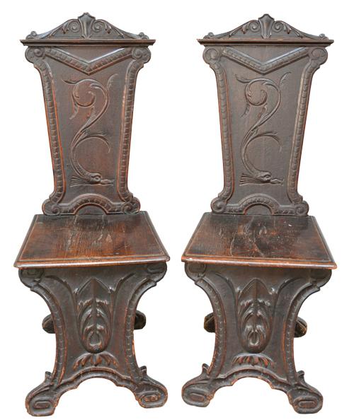 Antique Italian Renaissance Style Tuscan Chairs, Pair, Ca 1880
