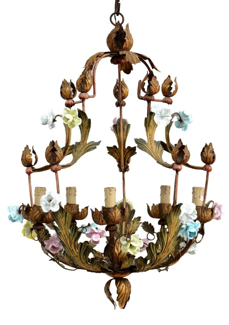 Gold Painted Chandelier With Capodimonte Porcelain Flowers