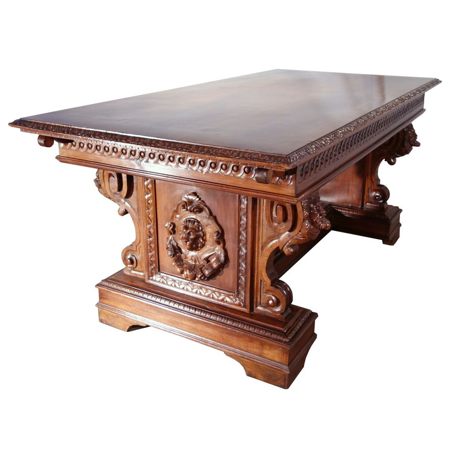 Antique italian renaissance style solid walnut dining table with