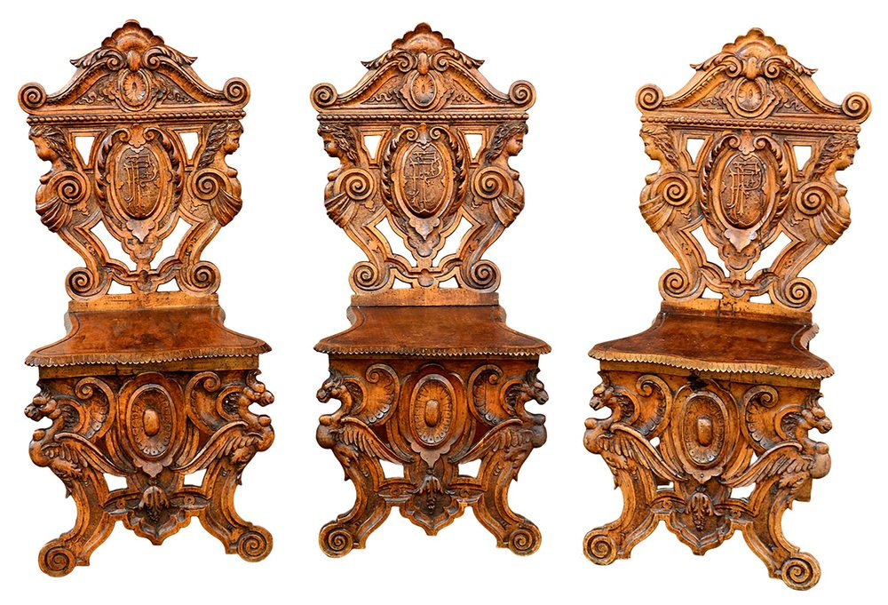 Antique Italian Hand Carved Chairs by Valentino Besarel, late 1800's, set  of 3 — Bellini's Antique Italia - Antique Italian Hand Carved Chairs By Valentino Besarel, Late 1800's