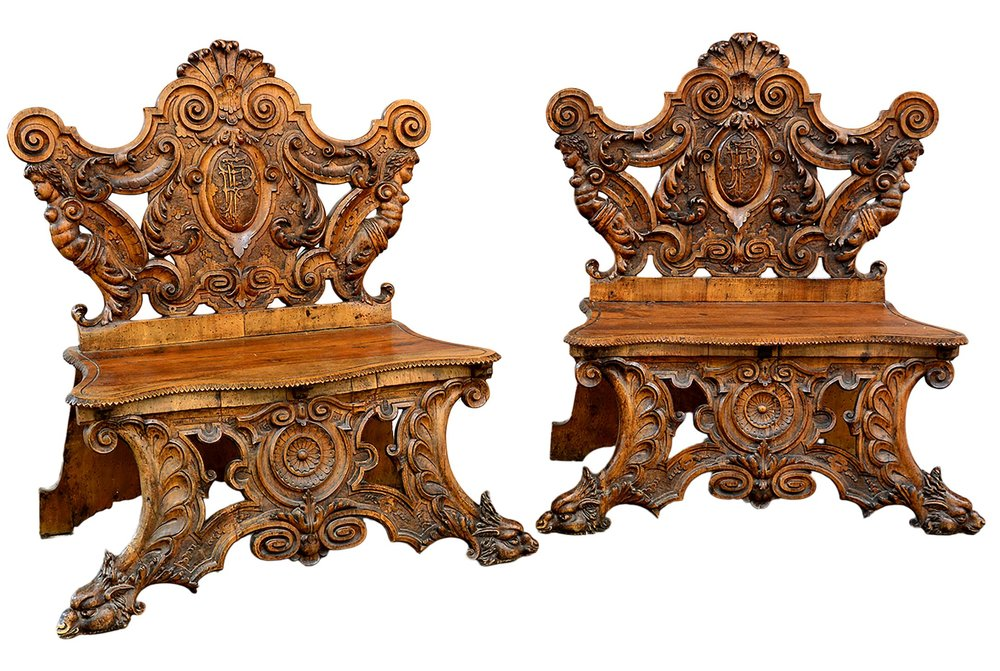 Antique Italian Hand Carved Bench by Valentino Besarel, late 1800's, 1  available — Bellini's Antique Italia - Antique Italian Hand Carved Bench By Valentino Besarel, Late 1800's