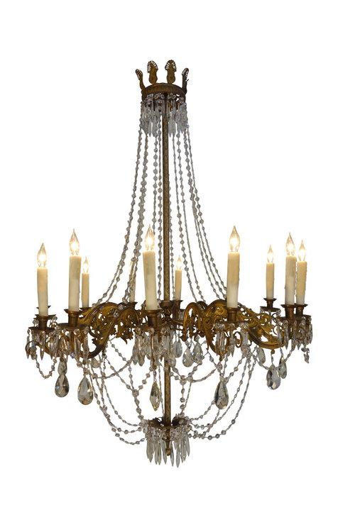 Antique Italian Empire Crystal & Brass 12-Light Chandelier, Ca 1860 - Antique Italian Chandeliers And Suspended & Suspension Lighting