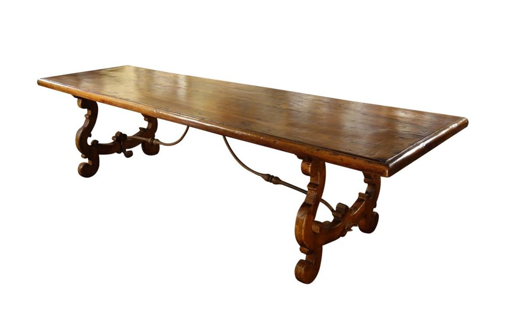 LIRA   Belliniu0027s Old World Collection: Antique Italian Reproduction Tuscan  Refectory Style Walnut Table